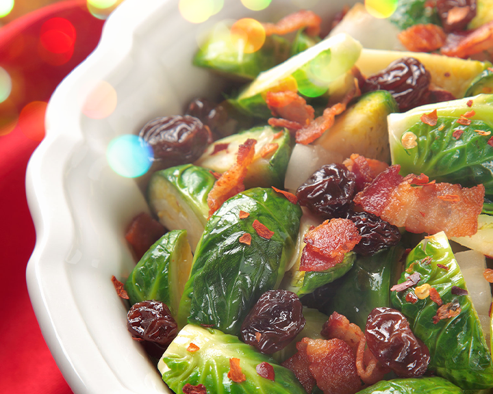 bacon raisin brussel sprouts