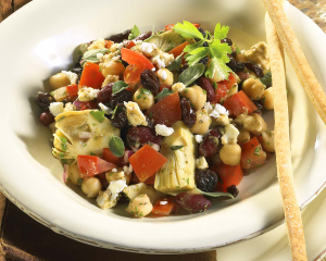 antipasto salad beans raisins bowl